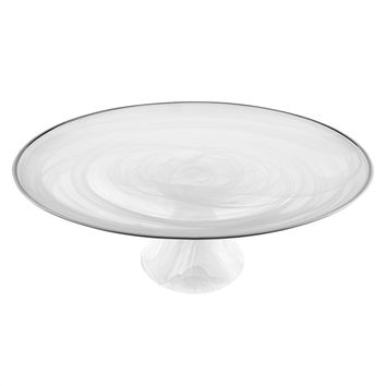 "Badash D140S White Alabaster with Silver Trim 13"" Footed Cake plate"