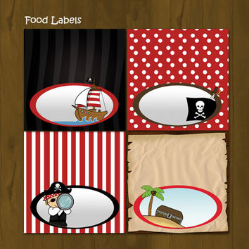 Pirate and Pirate Ship Food Labels - Pirate and Pirate Ship Printable Food Labels - INSTANT DOWNLOAD