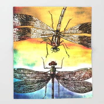 DRAGONFLY meets a Friend Throw Blanket by Pia Schneider [atelier COLOUR-VISION]