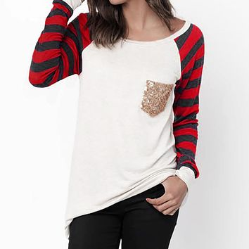 Women Stripe Patchwork Sequins Long Sleeve T-Shirt O-neck Pullover Blouse Tops