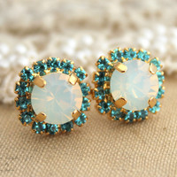 White opal Aqua blue Swarovski Rhinestone stud Crystal,bridal jewelry,bridesmaids gifts - 14k plated gold post earrings