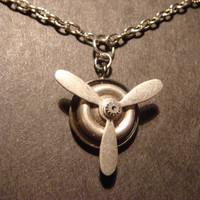 Steampunk  Moveable Propeller Necklace 504 by CreepyCreationz