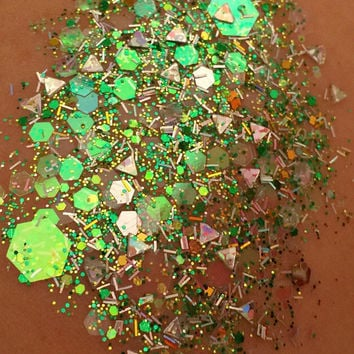 Cactus Cool (Chunky Loose Glitter ~6 grams): face, coachella makeup, hair, nail art, festival glitter, costume, rave, green, desert, dust
