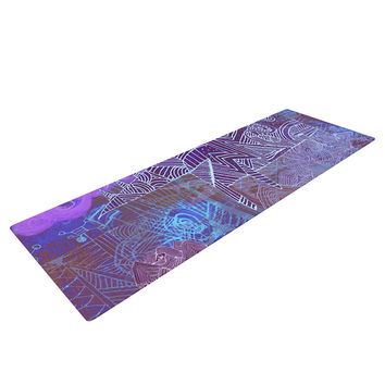 "Marianna Tankelevich ""Abstract With Wolf"" Purple Illustration Yoga Mat"