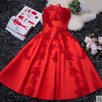 New fashion evening dress new bride banquet in the long section of the bridesmaid dress short female