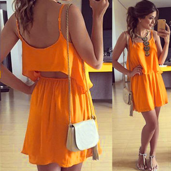 Chiffon Backless Top with Short Skirt Slim Mini Dress Set