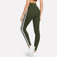 Army Green Tape Side Sporty Leggings Women High Waist