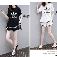 """Adidas"" Women Casual Solid Color Stripe Chiffon Short Sleeve Shorts Set Two-Piece Sportswear"
