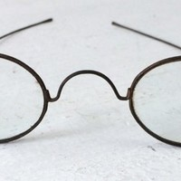 Antique wire rim spectacles, vintage small oval framed eyeglasses, steampunk photo prop, industrial decor
