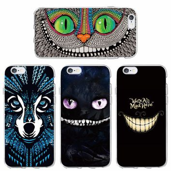 For iPhone 7 7Plus 6 6S 6Plus 5 5S SE 5C SAMSUNG Alice In The Wonderland Cheshire Cat We Are All Mad Here Soft Phone Case Coque