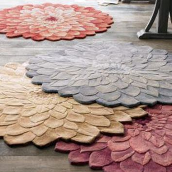 """Zinnia"" Floral Rug - Horchow"