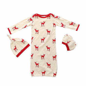 Deer Sleeper Set: Red
