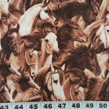 Flannel fabric with horses ponies cotton print quilting sewing material to sew for crafting by the yard BTY quilters horse flannel pony