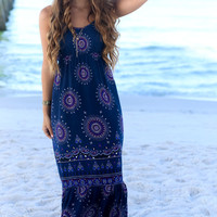 Raven Girl Navy Medallion Print Maxi Dress