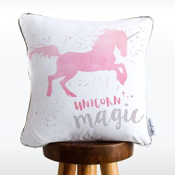 Magical Unicorn Mermaid Pillow w/ Silver & White Sequins - COVER ONLY (Inserts Sold Separately)