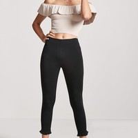 Ribbed Flounce Off-the-Shoulder Crop Top