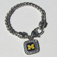 From The Heart  Michigan Wolverines 7.5 Inch Bracelet Brand New