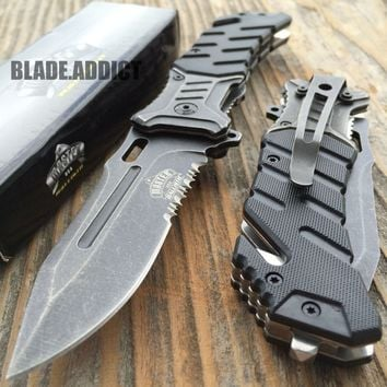 "8"" BALLISTIC Tactical Combat Spring Assisted Open Pocket Rescue Knife EDC B-H"