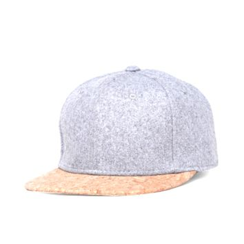 Gray and Cork Minimalist Unisex Snapback Cap