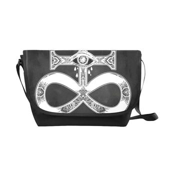 Satanic Black Nylon Cross Body Bag