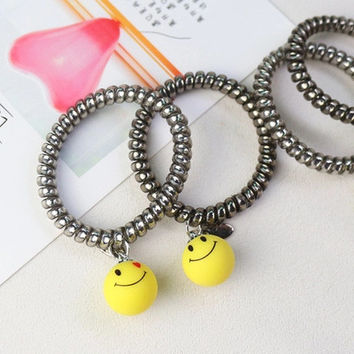 2 PCS The hair line Tousheng smile love ring rubber band lovely hair