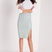 Missguided - Ribbed Panel Longline Skirt Green