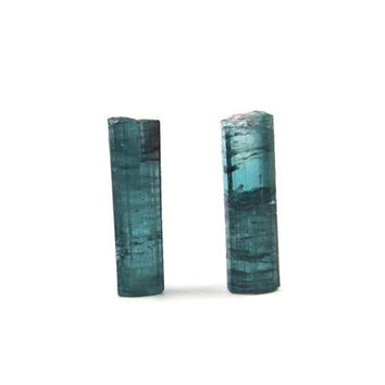 Blue Tourmaline, Indicolite Tourmaline, Rough, Raw 2 Crystals, 6.5 Carats, 16mm (Lot No. 3845) Jewelry Making, Wire Wrapping
