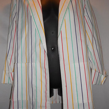 Vintage 80s  The Fox Collection Rainbow Pinstripe Jacket Overcoast Artistic Kawaii