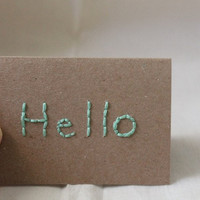 "Kraft Pastel Mint Green Simple Mini Blank Notecard (2 1/2 x 3 1/2) ""hello"""