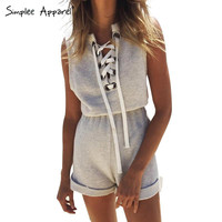 Simplee Apparel One piece girls lace up jumpsuit romper Women high waist casual overalls Summer 2016 short beach sport playsuit