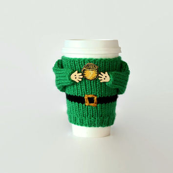 St. Patrick's Day gift. Leprechaun costume coffee warmer. Pot of gold coffee cozy. Irish mug sweater. Irish coffee mug. Irish decor.