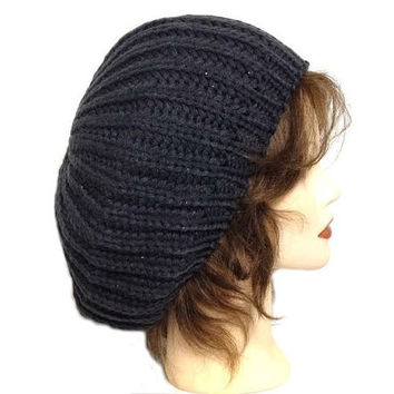 Women's Dark Grey Slouchy Crochet Beanie Beret Cap, Winter Warm Crochet Slouchy Beanie Hat Cap, Oversized Baggy Beanie Hat Tam