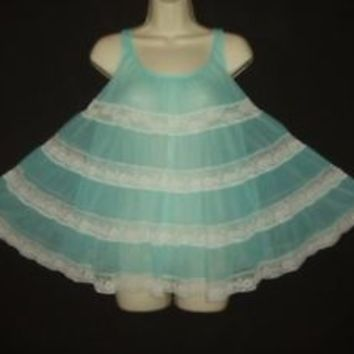 "VTG MISS ELAINE 2 LAY AQUAMARINE CHIFFON 120"" SWEEP FLUFFY BABYDOLL  NIGHTGOWN S"