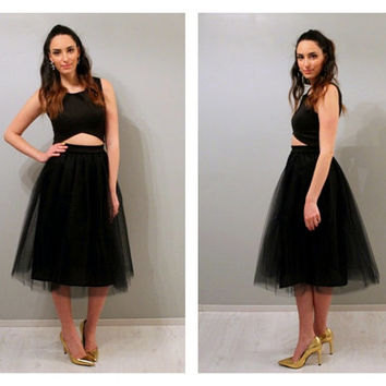 Tea length black tulle skirt, tea length tulle skirt, black tulle skirt, tulle skirt.