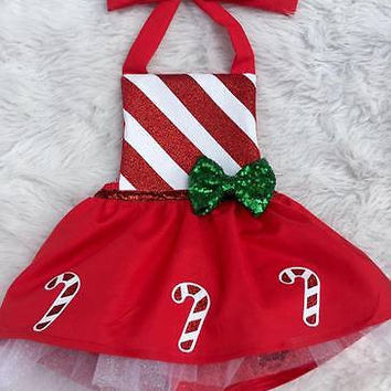 Lovely Infant Baby Girl Cotton Bow Candy Cane Dress Christmas Outfits Costume