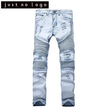 Mens Stretchy Tapered Jeans Destroyed Ripped Biker Jeans Torned Trousers Slim Fit Skinny Straight Denim Distressed Pants