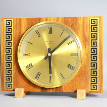 Vintage Mid Century Wood Table Clock Desk Clock by Weimar GDR East Germany -1950s - 60s
