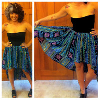 Hi-Low Vintage 90's Print Reconstructed Broom Skirt