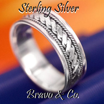 SIZE 9 Sterling Silver Wedding, Engagement, Promise, Thumb Band Men Ring R-205