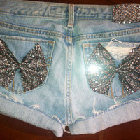 Low rise sequin bow shorts