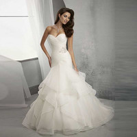 Berydres Simple Beaded Organza Sexy Wrap Mermaid Ruffles Train Bridal Vestido Wedding Dresses in Discount New Arrivals