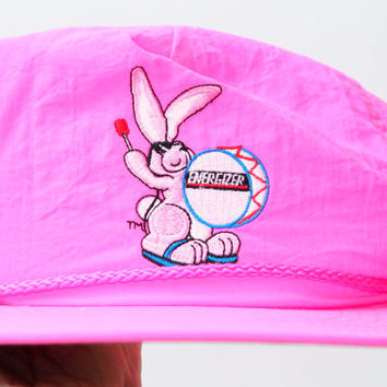 Vintage 80s/90s Hot Neon Pink Energizer Bunny Adjustable Hat Unisex