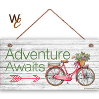 "Vintage Bicycle Sign, Adventure Awaits, 5"" x 10"" Sign, Journey and Adventure Home Gift, Gift For Her, Bike Sign, Made To Order"