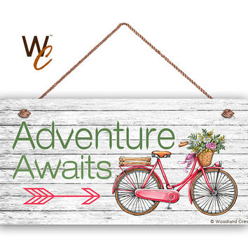 """Vintage Bicycle Sign, Adventure Awaits, 5"""" x 10"""" Sign, Journey and Adventure Home Gift, Gift For Her, Bike Sign, Made To Order"""