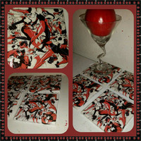 Harley Quinn ceramic drink coaster, wall art or decorative plate handmade DC comic