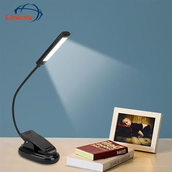 Portable Dual Flexible COB LED Clip Light On Bed Book Reading Desk Laptop Music Stand Lamp Portable Arms flashlight