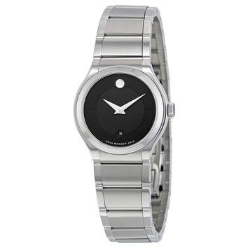 Movado Quadro Black Dial Stainless Steel Ladies Watch 0606493