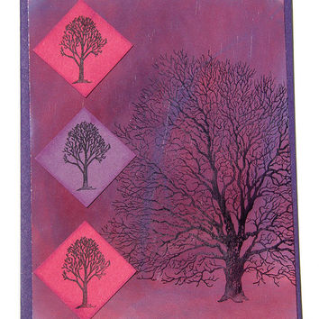 Twilight Tree Greeting Card, Bare Walnut Tree, Handmade Notecard, Hand Stamped Nature Scene, Purple and Pink, All Occasion Card, Blank Card