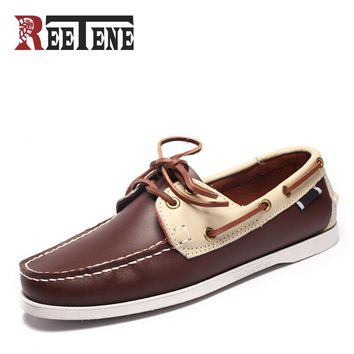 Genuine Leather Boat Shoes Mens Casual loafers British Style Breathable Driving Shoes Lace-Up Colorful Design Fashion New Flats