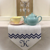 "Burlap Table Runner  12"" or 14"" wide with Monogram & chevron - White Off White Burlap"